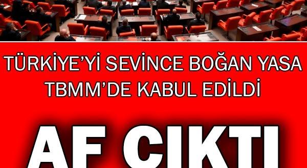 Türkiye'yi sevince boğan karar: Af Çıktı